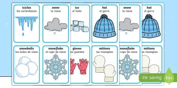 * NEW * Winter Pairs Matching Game - English/Spanish  - Winter Pairs Matching Game - games, activities, activity, pair, wnter, wintre, mathching, EAL,Spanis