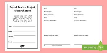Social Justice Project Research Activity Booklet - Uniquely Canadian, social justice project, social studies, science and technology, language, writing