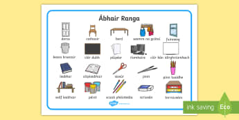 Mata Focail: Ábhair Ranga - Bainistiú, Classroom management, eagrúchán, organisation, foclóir , vocabulary, lipéid, labels,
