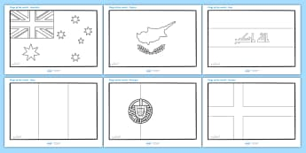 Flags of the World Colouring Sheets - Flags of the world, flags, world, country, countries, colouring, fine motor skills, poster, worksheet, vines, A4, display, all around the world, worldwide, flag, around the world, globe