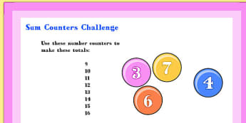 A4 KS1 Sum Counters Maths Challenge Poster - math, challenge, ks1