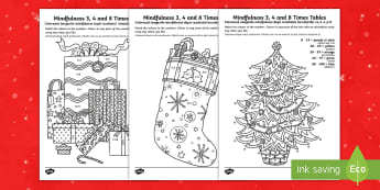 KS1 Christmas-Themed Mindfulness Times Tables Activity Sheets English/Romanian - presents, tree, stocking, Themed Mindfulness, plants and growth, mindfulness, colouring, colour, tim