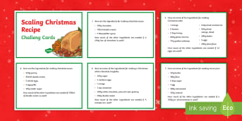 Year 6 Scaling Christmas Recipe Maths Challenge Cards - KS2, Maths, ratio, proportion, scaling