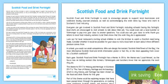 Scottish Food and Drink Fortnight Information Guide - Scotland, Food, History, recipes, information sheet for teachers, What is Scottish food and drink fo