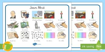 Tapiz de vocabulario: Miró - Miró, Surrealismo, Arte, Dibujo, Pintor, Spanish