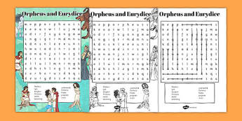 Orpheus and Eurydice Wordsearch - wordsearch, orpheus, eurydice