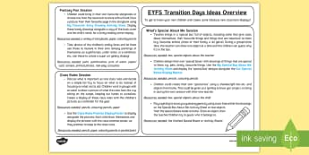 EYFS Transition Days Teaching Ideas  Overview - New Class, Moving Classes, Nursery to Foundation, Classroom Displays, Activities