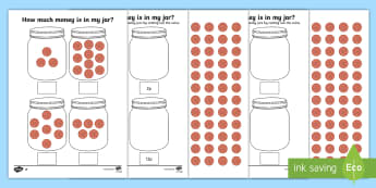 KS1 How Much Money Is in My Jar? Counting in 2s Activity Sheets - y1 money, y2 money, y2 number sequence, worksheets, number sequence, measurement, how much money, mo
