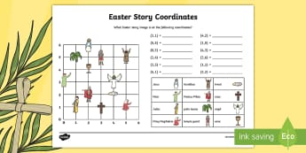 Easter Story Coordinates Worksheet / Activity Sheet - KS2, Maths, worksheet, coordinates, geometry, easter, easter story, first quandrant,