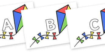 A-Z Alphabet on Kites - A-Z, A4, display, Alphabet frieze, Display letters, Letter posters, A-Z letters, Alphabet flashcards
