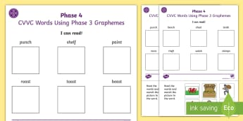 Middle East I Can Read Phase 4 CVCC Words Using Phase 3 Graphemes Activity Sheets - blending, cut and stick, reading, phonics, dubai, worksheet