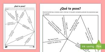 Illnesses Puzzle - Spanish - body, parts, translation, matching, cut, activity