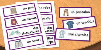 French Clothes 1 Word Cards - french, clothes, word cards, cards