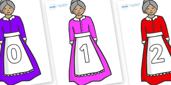Numbers 0-31 on Old Mother Hubbard - 0-31, foundation stage numeracy, Number recognition, Number flashcards, counting, number frieze, Display numbers, number posters