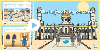 KS1 The Unforgiving Servant Story PowerPoint - Christianity, RE, religious education, parable, unmerciful, Jesus, Bible, Forgiveness, come and see