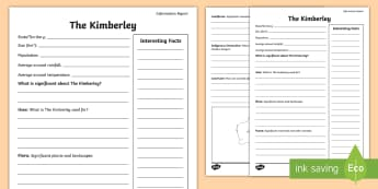 Australian States and Territories – The Kimberley Research Fact File  - Year 3, three, ACHASSK066, Australian Curriculum, Geography, Western Australia, language, Vocabulary
