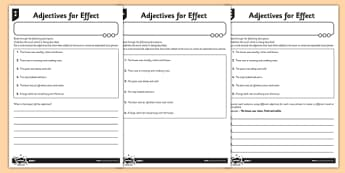 Adjectives for Effect Differentiated Activity Sheet Pack - GPS, modifying, adjectives, spelling, grammar, punctuation, worksheet
