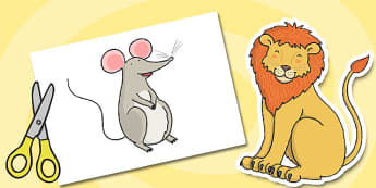 The Lion And The Mouse Story Cut Outs - cut outs, story, lion