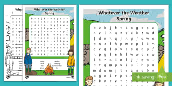 Whatever the Weather Rainy Word Search - Exploring my world, rain, seasons, clothes, aistear, literacy, oral language, spring