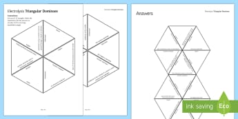 Electrolysis Tarsia Triangular Dominoes - Tarsia, gcse, chemistry, electrolyte, electrode, electrolysis, electric, electric current, ionic, se, plenary activity