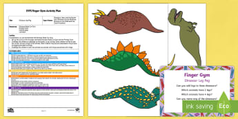 EYFS Dinosaur Leg Peg Finger Gym Plan and Resource Pack - Harry and the Bucketful of Dinosaurs, Ian Whybrow, peg, funky fingers,  prehistoric, triceratops, Ty