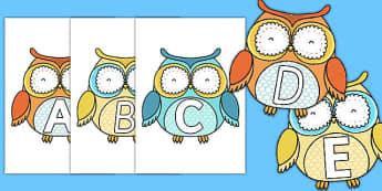 A-Z Alphabet on Cute Owls - a-z, alphabet, letters, cute owls, cute, owls