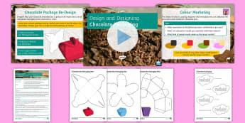 Chocolate Packaging Lesson Pack - designing, nets, packaging, ks3, rendering, target market, colour marketing, design