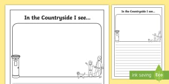In the Countryside I see Writing Frames  - County writing frame, rural writing, writing template, writing guide, writing aid, line guides, line