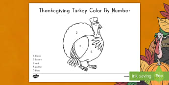 Thanksgiving Turkey Color by Number Activity Sheet - thanksgiving, thanksgiving day, color by number, number recognition, thanksgiving activity sheet, ac