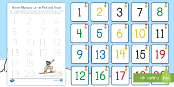 Winter Olympics Number Find and Trace Activity - PyeongChang, Number Skills, South Korea Olympics