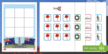 Three in a Row Anzac Day Activity -  EYLF, Foundation, Game, Numeracy, Problem Solving, Counting, Anzac soldier, anzac tent, anzac cooki