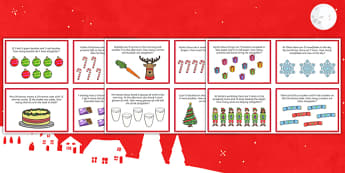 Christmas Themed Addition Word Problem Challenge Cards - christmas addition, word problem, challenge, cards