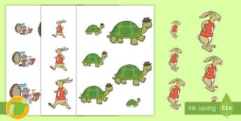 Ordenar tamaños: La liebre y la tortuga - cuento, infantil, moraleja, liebre, tortuga, fábula, fabula, animales, tamaño, mates, maatemática