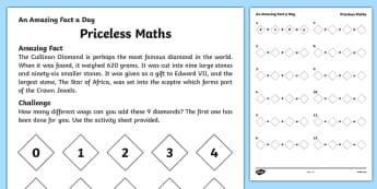 Priceless Maths Worksheet / Activity Sheet, worksheet