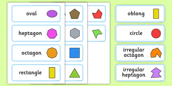 2D Shapes With Irregular Shapes Word Cards - shape, numeracy, 2D shapes, irregular, oval, heptagon, octagon, rectangle, pentagon, hexagon, square, triangle, oblong, circle