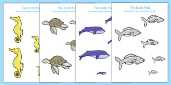 The Little Fish Size Ordering - Tiddler, fish, sea, under the sea, water, ocean, story, storybook, eyfs, early years, ks1, size, measure, measuring, measurement, ssm, compare, bigger, smaller, maths