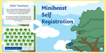 Minibeasts Self-Registration PowerPoint - powerpoint, power point, interactive, powerpoint presentation, minibeasts self registration, minibeast powerpoint, minibeast themed self registration powerpoint, presentation, slide show, slides, discussion a