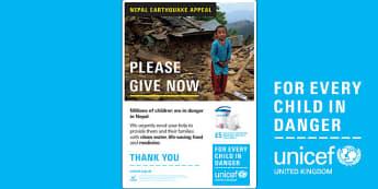 Unicef Nepal Earthquake A4 Poster - unicef, earthquake, poster