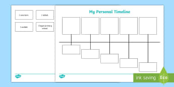 My Personal Timeline Worksheet / Activity Sheet - History, Baby, child, development, Milestones, Life events, worksheet