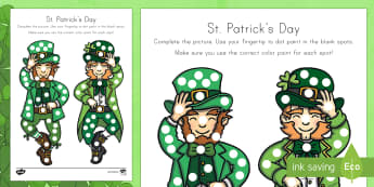 St. Patrick's Day Fingertip Painting Worksheet / Activity Sheet - St. Patrick's Day, St. Patrick's Day art, leprechaun, finger painting, worksheet, worksheet / activity sheet