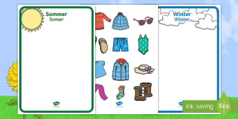 Winter and Summer Shape Sorting Activity Sheet English/Afrikaans - Seasons, warm, cold, cut, paste, seisoene, koud, EAL