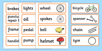 Bicycle Repair Shop Word Cards - Bike repair, bicycle, bikes, word card, flashcards, writing aid, transport, role play, wheels, tyres, bikes, bike role play, fix, repair