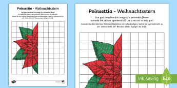 KS2 Poinsettia Activity Sheet - English/German - EAL, German, christmas, flower, tradition, traditional, mexico, maths, symmetry, reflection, workshe