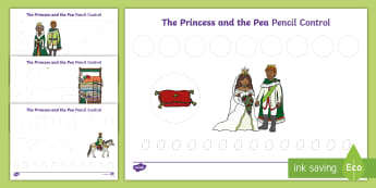 The Princess and the Pea Pencil Control Activity Sheets - traditional tales, castles, fairy tales, vegetables, food, sleeping, prince, queen, king