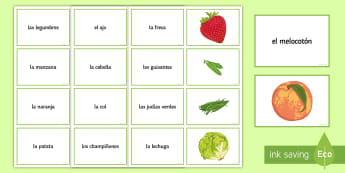 Fruit and Vegetables Matching Cards Spanish - Spanish, Vocabulary, food, fruit, vegetables, matching, cards