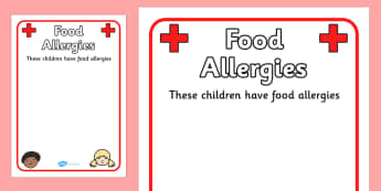 Pupil Food Allergies Information Poster - food, allergy, allergy information, allergies, pupil information, pupils, poster, sign, sheet, display