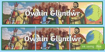 Owain Glyndwr Display Banner - Tywysog, Prince, Castell, Castle, Wales, Cymru, arfwisg, armour,Welsh