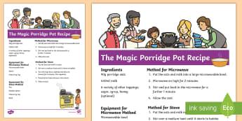 The Magic Porridge Pot Recipe - cook, make, traditional tales, oats, milk, story.
