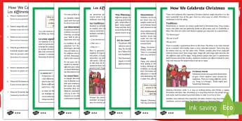 How We Celebrate Christmas Differentiated Reading Comprehension Activity English/French  - Christmas, Nativity, Jesus, xmas, Xmas, Father Christmas, Santa, traditions, food, decorations, true