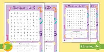 Sopa de letras: Del 1 al 20 en inglés - numeración, Numbers, contar, Count, escribir, Write, encontrar, Find